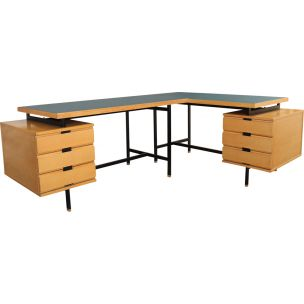 Pair of vintage desks by Pierre Guariche for Minvielle in ash and Formica 1950s