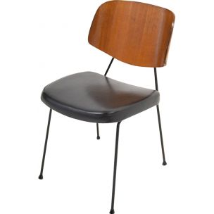 Vintage chair in black leatherette, 1950-60s