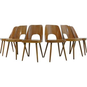 Set of 6 vintage beech chairs by Oswald Haerdtl for Thonet