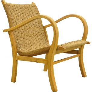 Vintage beech armchair with braided rope seat by V&D