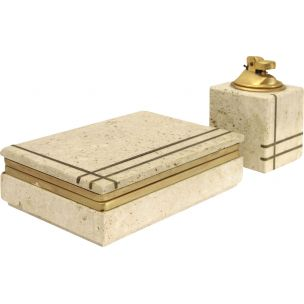 Vintage travertine and brass smoking set by Uliveri for Cerri Nestore 1960s