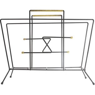 Vintage black metal and brass italian magazine rack