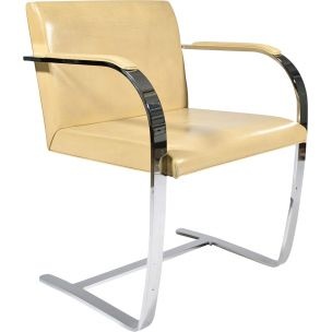 Vintage armchair for Knoll in neige leather and metal 1930