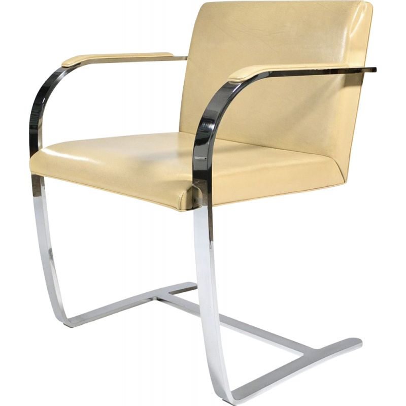 Vintage chair for Knoll in beige leather and metal 1930