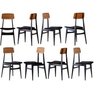Set of 8 vintage italian chairs in black leather and teak 1950s