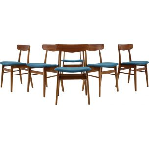 Set of 6 vintage dining chairs in teak, Danemark,1960