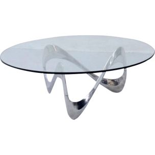 Vintage Snake coffee table for Ronald Schmitt in glass and aluminium