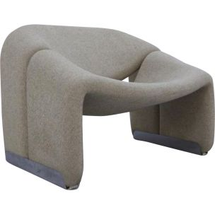 Vintage lounge chair model F598 by Pierre Paulin for Artifort in grey wool 1970