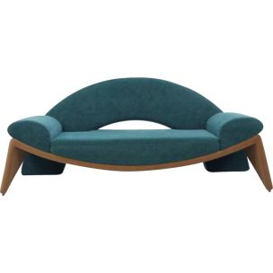 Vintage 3-seater sofa in green polyester 1980