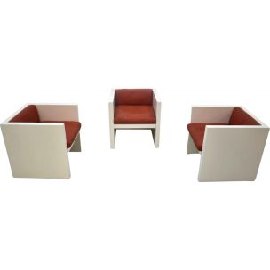 Set of 3 vintage Saratoga armchairs for Poltronova in wood and leather 1960