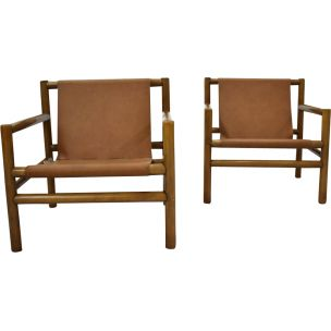 Pair of vintage armchairs for Stol Kamnik in brown leather 1960
