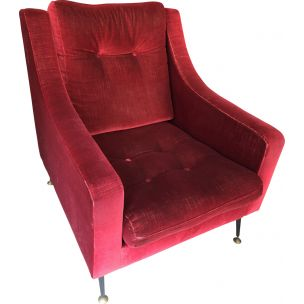 Vintage armchair in red velvet from the 50s