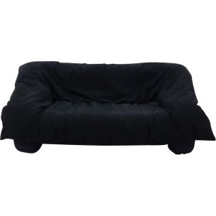 Vintage 2-seater sofa for Ligne Roset in black fabric and plastic 1980