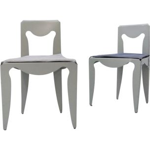 Vintage Liberta chair for Meritalia in grey fabric and aluminium 1980