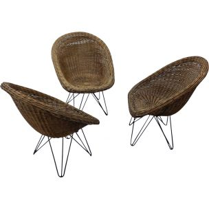 Vintage Basket wicker chair with hairpin metal legs 1950