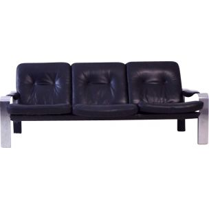 Vintage sofa in black leather with a brushed steel frame 1970s