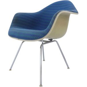 Vintage Diamond armchair for Miller in fibreglass and turquoise fabric 1970