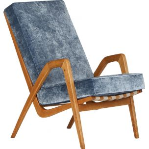 Vintage armchair in oakwood and blue velvet 1950