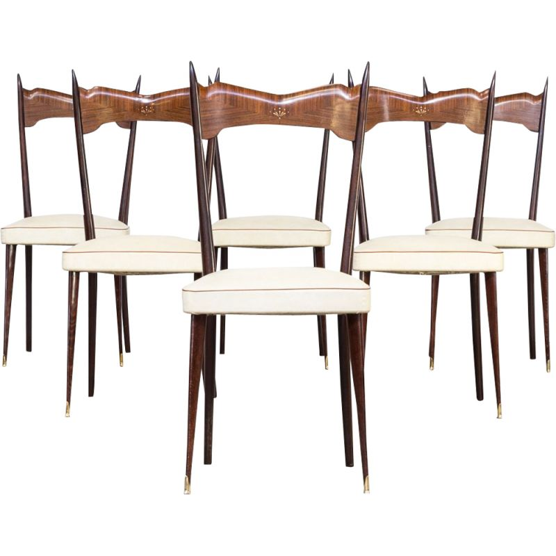Set Of 6 Vintage Italian Chairs In Wood Brass And White Leatherette 1960