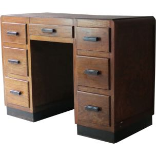 Vintage english small desk in oakwood 1930s