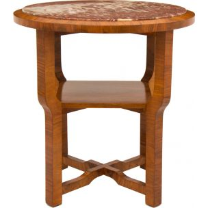 Vintage french side table in walnut and with marble top 1930