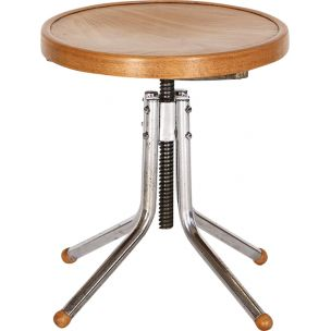 Vintage stool in tubular steel and wood 1930