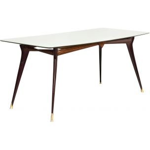Vintage italian table in rosewood brass glass 1960