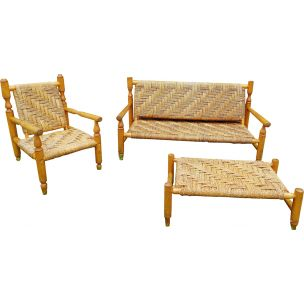 Vintage living room set by Audoux Minet in wood and rope 1950