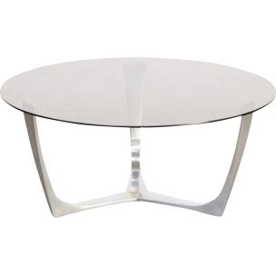 Vintage coffee table in aluminium and glass 1980