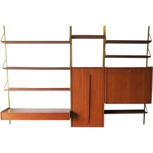 Vintage modular wall shelf system in brass and teakwood 1960