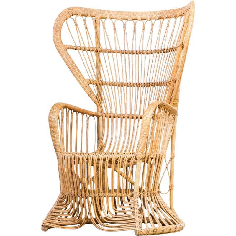 Vintage peacock chair for Rohé Noordwolde in rattan 1950