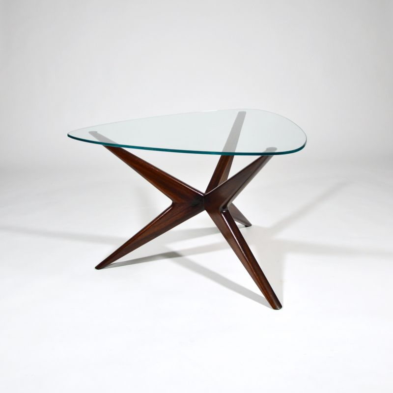 Triangle Coffee Table Wood.Vintage Italian Triangular Coffee Table In Mahogany And Glass 1950