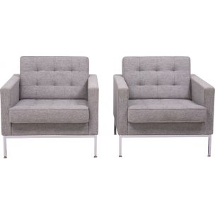Vintage pair of armchairs in grey wool by Florence Knoll