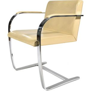 Vintage chair in beige leather and metal 1930