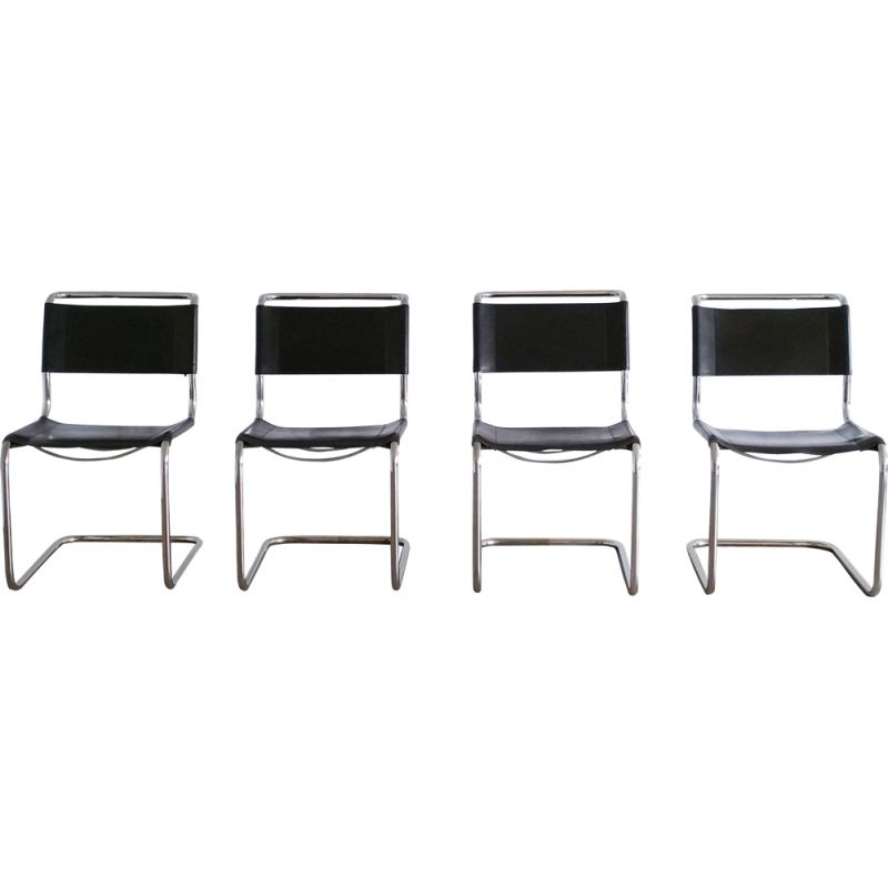 Set of 4 vintage S33 Cantilever Chairs for Thonet in black leather 1980s