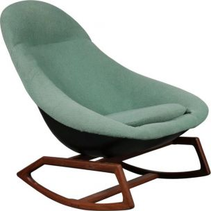 Vintage Gemini rocking chair for Lurashell in green fiberglass and wood 1960