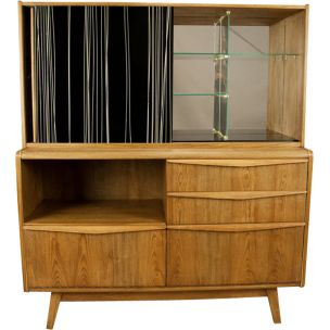Vintage U-372386 cabinet for Jitona in ash and glass 1960
