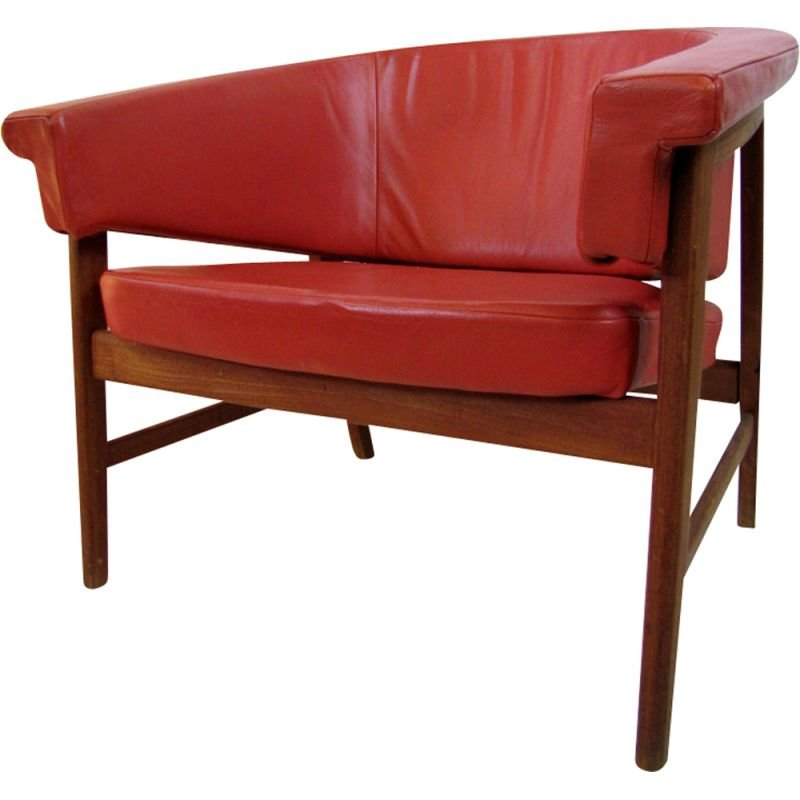 Vintage danish armchair in red leather and wood 1960