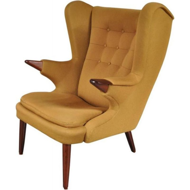 Vintage yellow model 91 Papa Bear armchair for Skipper Mobler in rosewood 1960s