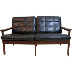 Vintage sofa for Wikkelsö in black leather and teakwood 1960