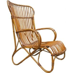 Vintage lounge chair in cane and rattan 1930