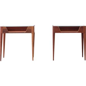 Pair of vintage italian bedside tables for Strada in wood and glass 1950s