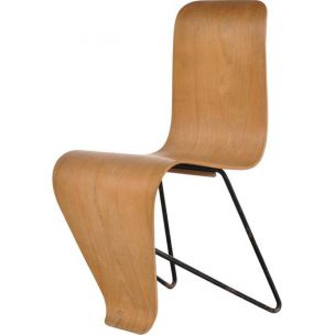 Vintage Bellevue chair by Bloc in metal and plywood 1950