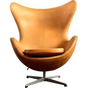 Vintage Egg Chair by Jacobsen in brown leather and aluminium 1990