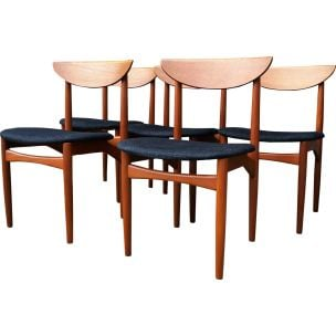 Set of 5 vintage scandinavian chairs in teak 1960