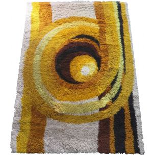 Vintage rug in yellow wool 1970