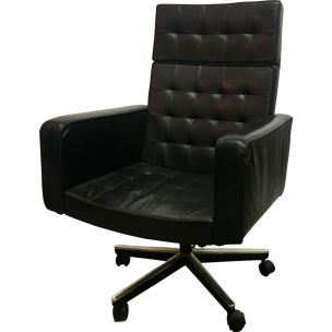 Vintage armchair Vincent Cafiero in black leather for Knoll 1970