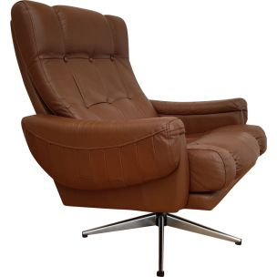 Vintage swivel brown leather armchair 1970s