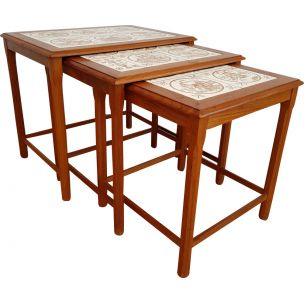 Nesting table hand-painted ceramic tiles and in teak 1960
