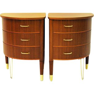 Pair of vintage roundshaped tables in mahogany 1950s